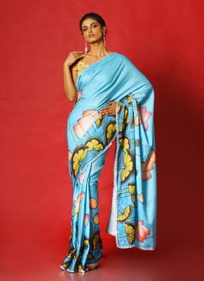 blue pool lotus  blended linen satin digital printed saree