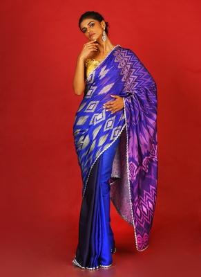 midnight ikkat blended linen satin digital printed saree