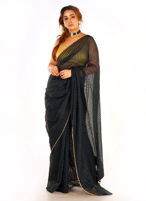black colour blended organza saree with beeded lace border
