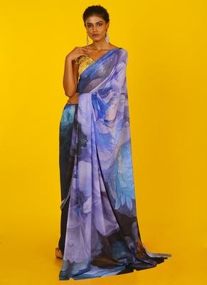 blue efflorescence blended georgette digital printed saree