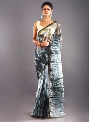black & grey organza tie dye saree with golden border