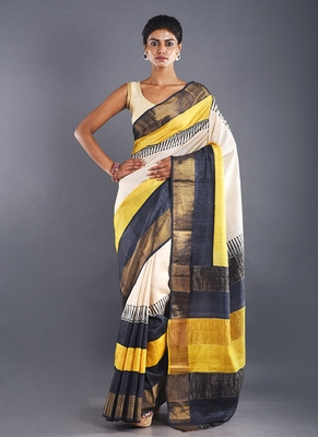 grey tussar silk saree with zari border