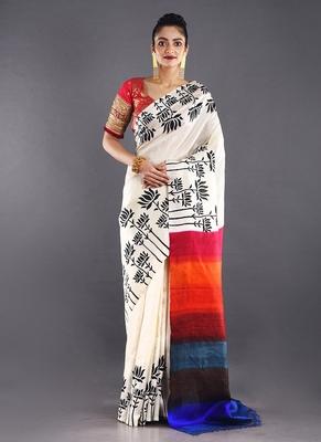 beige & multi color pure silk saree