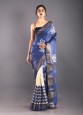 navy blue & offwhite tussar silk saree with zari border
