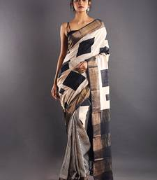 Offwhite & Black Tussar Silk Saree With Golden Zari Border