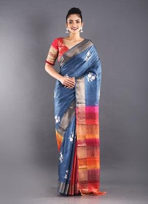 bule tussar silk saree with multi color pallu
