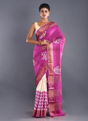 beige & pink tussar silk saree with zari border