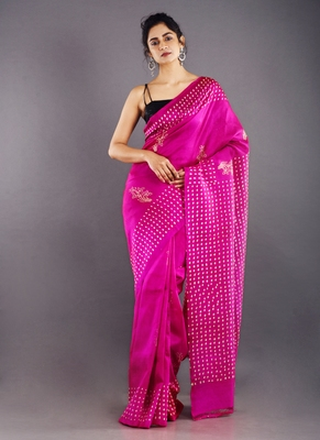 pink & offwhite color pure silk saree
