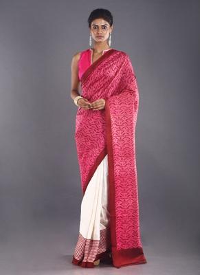 pink & maroon color pure silk saree
