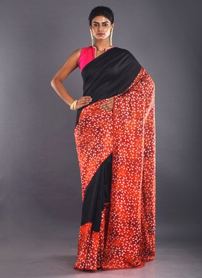 Black & Red Color Pure Silk Saree