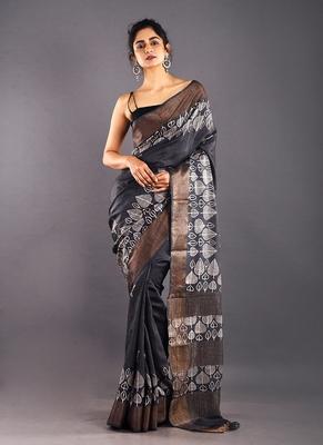 black & offwhite tussar silk saree with zari border