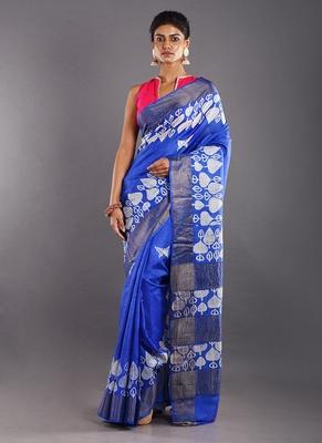 blue & offwhite tussar silk saree with zari border