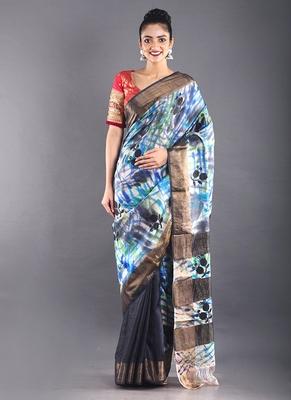 navy blue tussar silk saree with zari border