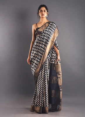 black & white tussar silk saree with zari border