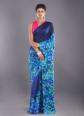 multi & blue color pure silk saree