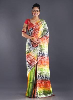 multi color pure silk wroli print saree