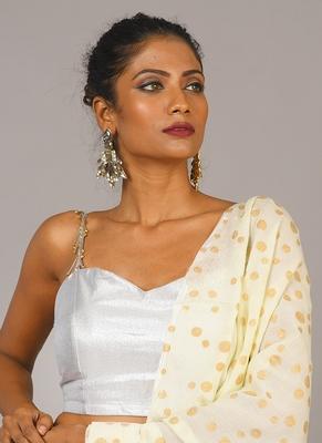 silver fringe lace blouse