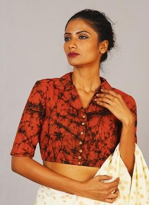 notch collar batik blouse