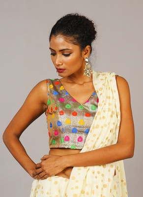 multi color brocade blouse