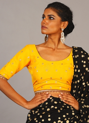 yellow embroidered blouse with maroon border