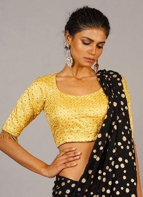 golden embroidered blouse with lace