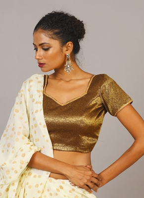 Brown Tanchui Brocade Blouse With Lace