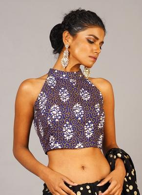 blue ajrak printed blouse