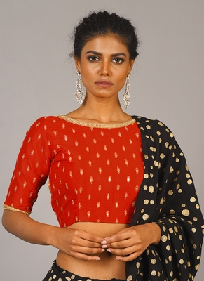 Red Embroidered Blouse With Crystal Lace