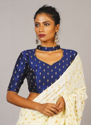 blue embroidered blouse with band collar