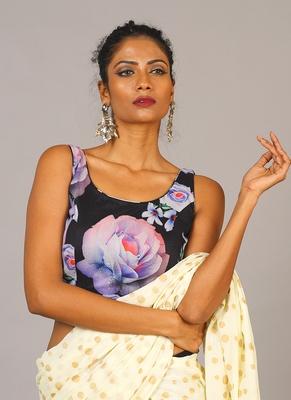 black digital printed blouse