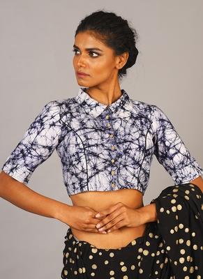 White & Blue Batik Blouse With Shirt Collar