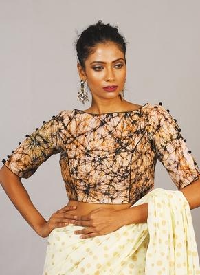 batik blouse with portly & slit on sleave