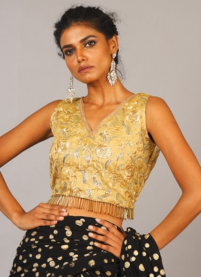 golden embroidered blouse with back tie & fringe lace