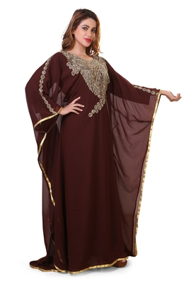 brown moroccan dubai kaftan farasha zari and stone work dress
