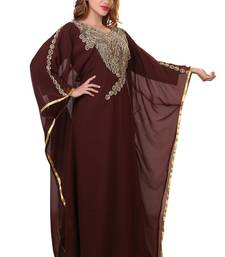 brown moroccan dubai kaftan farasha zari and stone work dress