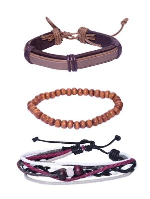 Genuine Leather Bracelet Brown white Red Wraps Casual Skin Friendly Bracelets for Men