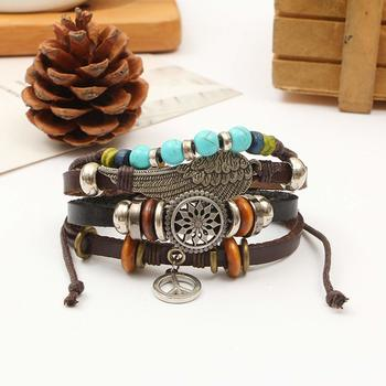 Genuine Leather Bracelet Silver Brown Black Wraps Casual Skin Friendly Bracelets for Men