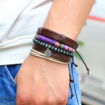 Genuine Leather Bracelet Multi-color Wraps Casual Skin Friendly Bracelets for Men