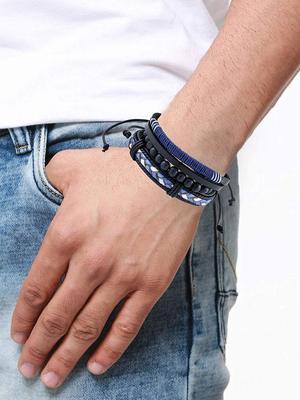Genuine Leather Bracelet Black White Blue Wraps Casual Skin Friendly Bracelets for Men