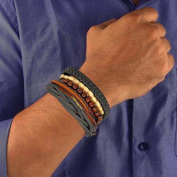 Genuine Leather Bracelet Black white Wraps Casual Skin Friendly Bracelets for Men