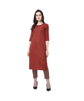 maroon Elora Cotton Stripes Printed Kurti for Women