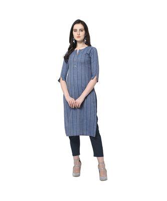 light-blue Elora Cotton Stripes Printed Kurti for Women