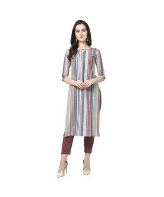 multicolor Elora Cotton Stripes Printed Kurti for Women