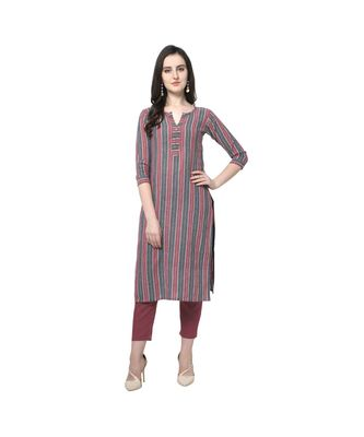 grey Elora Cotton Stripes Printed Kurti for Women