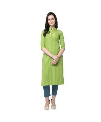 green Elora Cotton Stripes Printed Kurti for Women