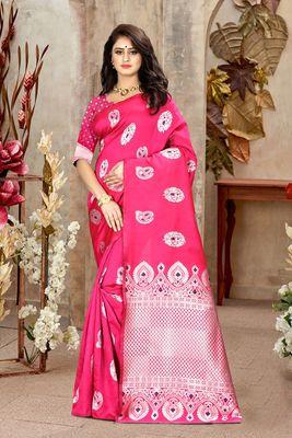 Pink Woven Kanjivaram Silk Saree With Blouse