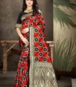 Buy Black Woven Art Silk Saree With Blouse