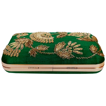 Green Embroidery Box Clutch