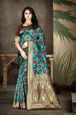 Brown woven kanjivaram silk saree with blouse