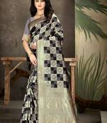 Buy Grey Woven Art Silk Saree With Blouse